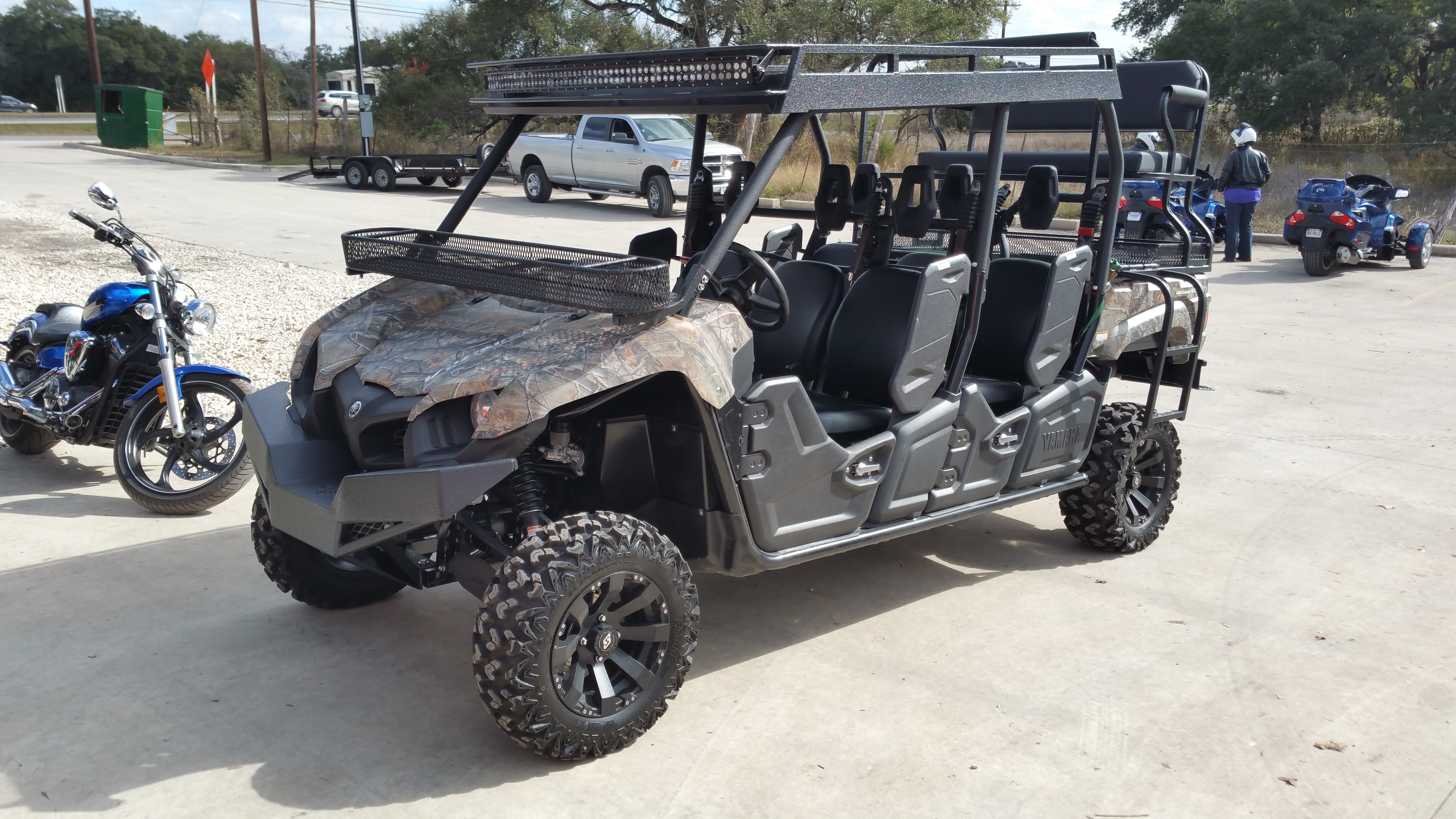 Yamaha Viking Metal Roof Crew Six Utility Top with bumper and high seat