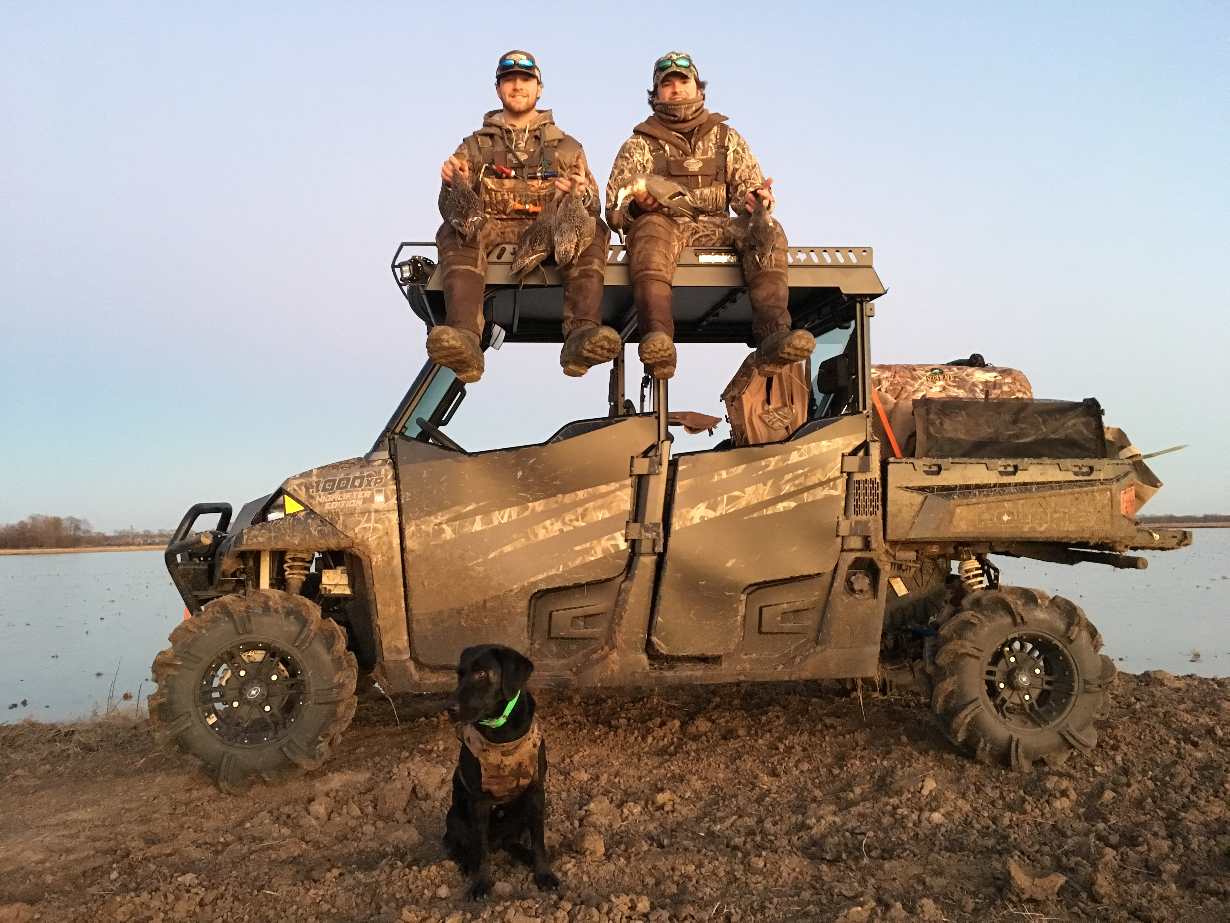 Polaris Ranger Crew Metal Roof with Decoys Mounted on hunting rack